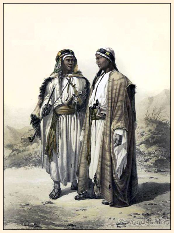 Traditional Arabian Bedouin costume and clothing. Middle East fashion. Egyptian national costumes. Oriental Album.