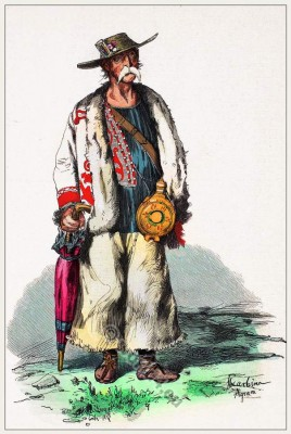 Croatian national costume. Peasant Croatia traditional folk dress.