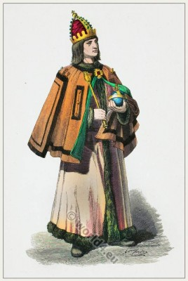 German Lord with crown and insignia. Renaissance costume. Franz Lipperheide.