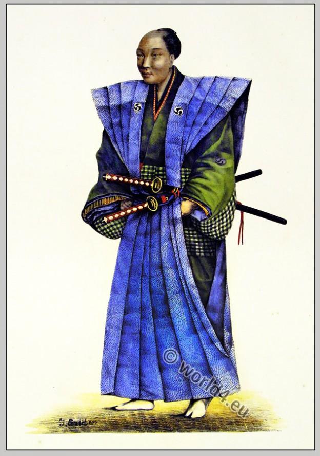 Japan warrior dress. Japanese Samurai with kimono and swords