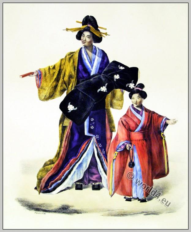 Traditional Japanese women clothing. Antique Kimono costumes.