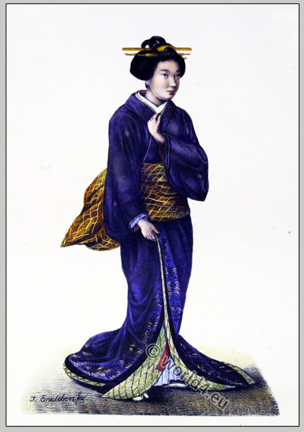 Traditional Japanese woman clothing. Antique Japan Kimono costume.