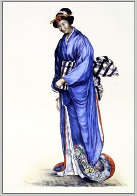 Japanese woman clothing. Traditional Geisha Costume.