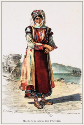 Traditional Montenegrin costume. Franz Lipperheide.