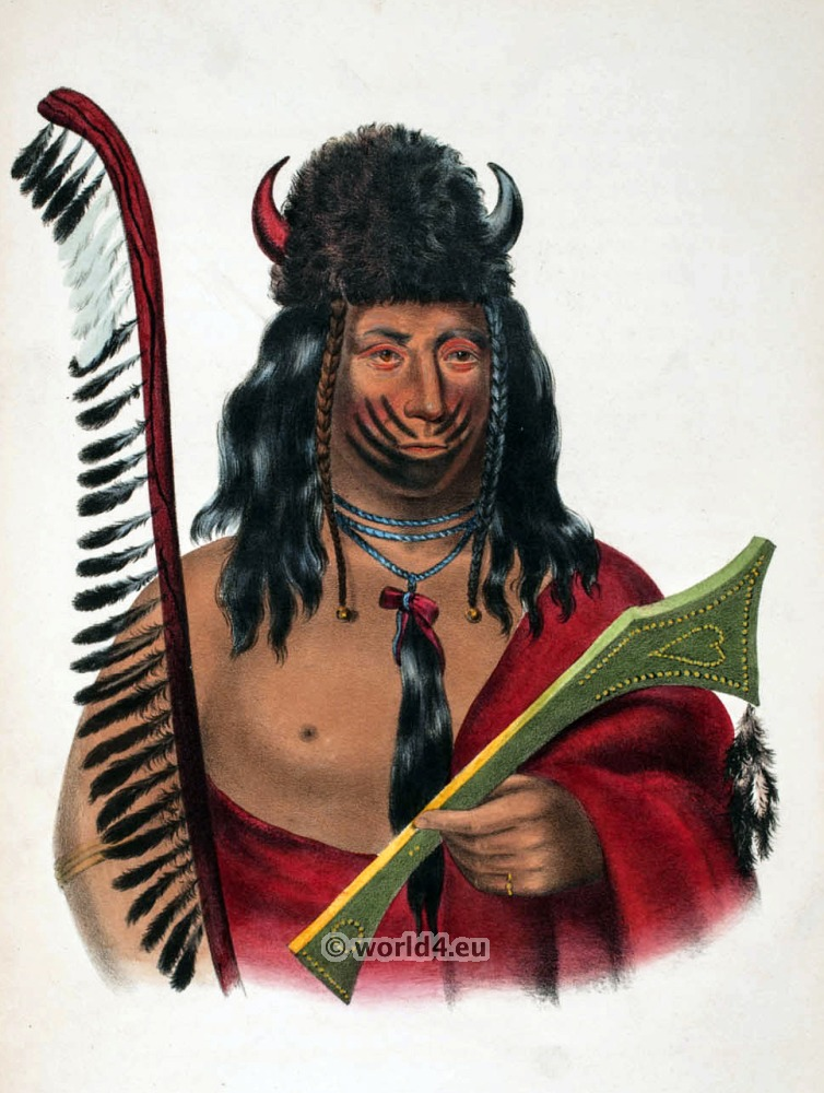 Kishkekosh, Kee-o-kuck. American natives costumes, illustrations and portraits. Indian Tribes of North America.