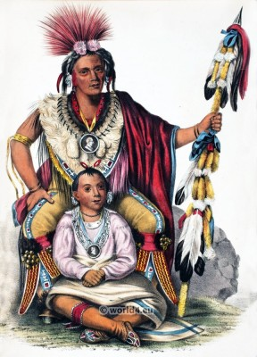 Chief Keokuk, a chief of the Sauk or Sac tribe. American natives costumes, illustrations and portraits. Indian Tribes of North America.