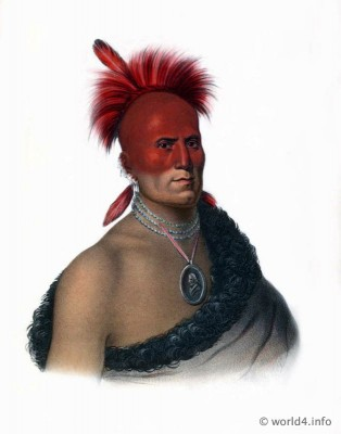 SHARITARISH a Pawnee Chief. American natives costumes. Indian Tribes of North America. Western Tribal warriors.