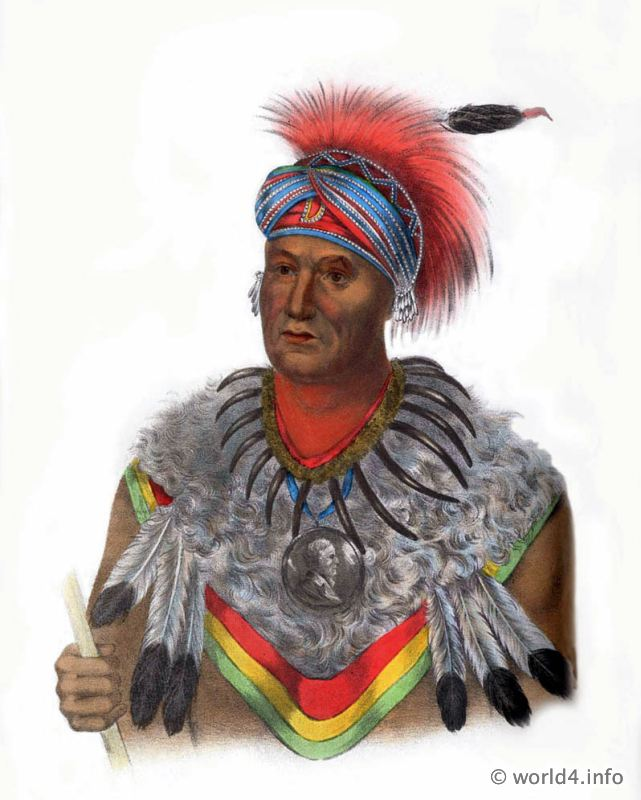 Musquakee, Chief, Natives, Native, America, Tribes, Indian, costumes