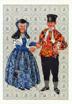 Netherlands traditional costumes. Womens and mens clothing.