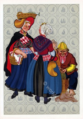 Netherlands traditional costumes. Women`s and mens folk dress.