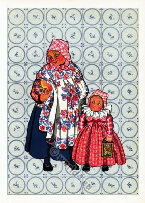 Netherlands traditional costumes. Woman folk and Children's dress