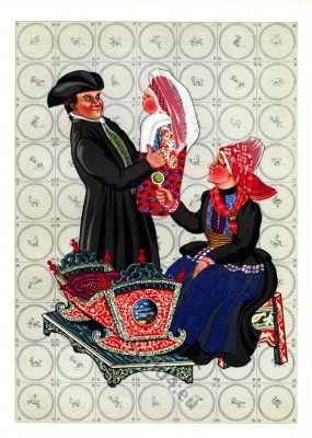 Netherlands traditional costumes. Women`s and mens folk dresses. Babydress.
