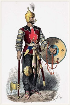 Medieval Persian warrior in full armor. Persia soldier weapons. Middle ages Asia army dress. Franz Lipperheide.