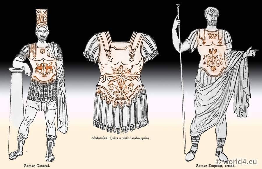 Ancient Roman General armor. Abdominal Cuirass with lambrequins. Emperor armed. Roman helmet.