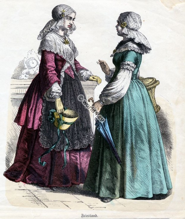 Traditional Holland Friesland Costumes. Historical Netherlands folk dresses. Dutch women`s clothing