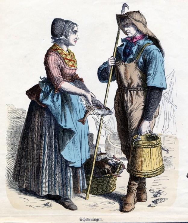 Traditional Scheveningen Costumes. Netherlands folk dresses. Dutch women and mens clothing