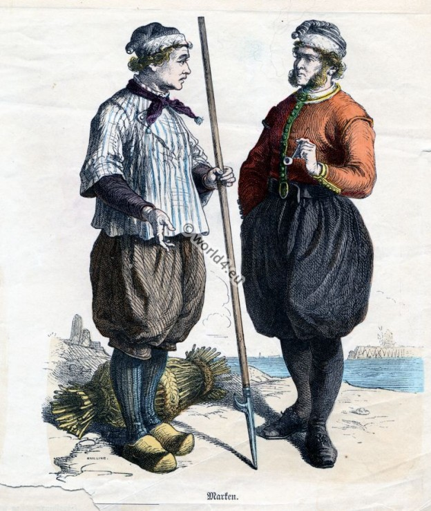 Traditional Marken Costumes. Netherlands folk dresses. Dutch mens clothing