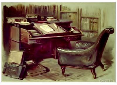 Abbotsford, Victorian, furniture, Desk, Sir Walter Scott,