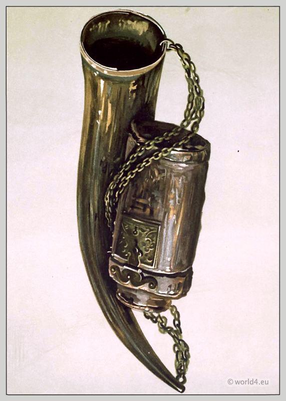 Sir Walter Scott. Border war horn and James VI.'s hunting-bottle