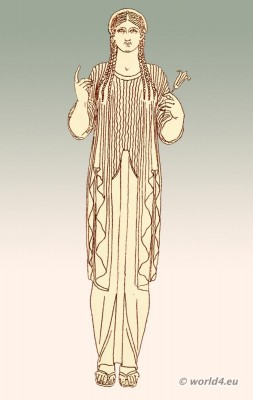 Ancient, Greek, female, costume, Ionic, chiton,