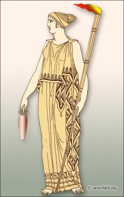 Ancient Greek clothing, Greece ampechonion, diploidion, Priestess of Demeter costume