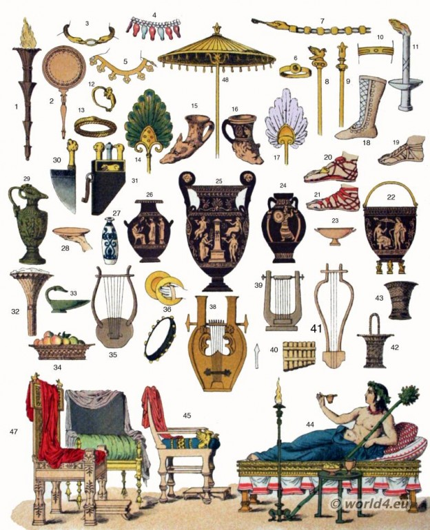 Ancient, Greece, Culture, Music, Instruments, furniture, jewelry, Vases