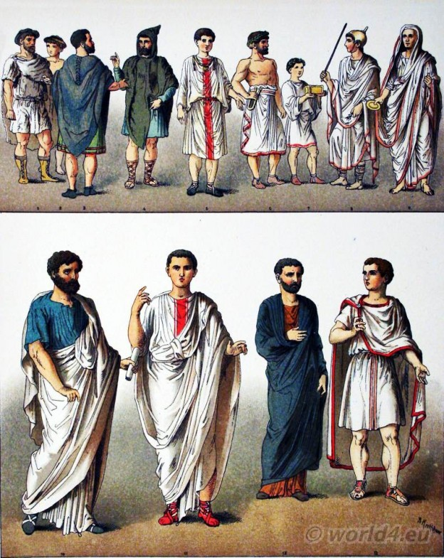 Roman Travelling Costume, Peasants, Noble Man, Sacrificial Assistants, Priest of Jupiter,High Priest, Senator, Equestrian