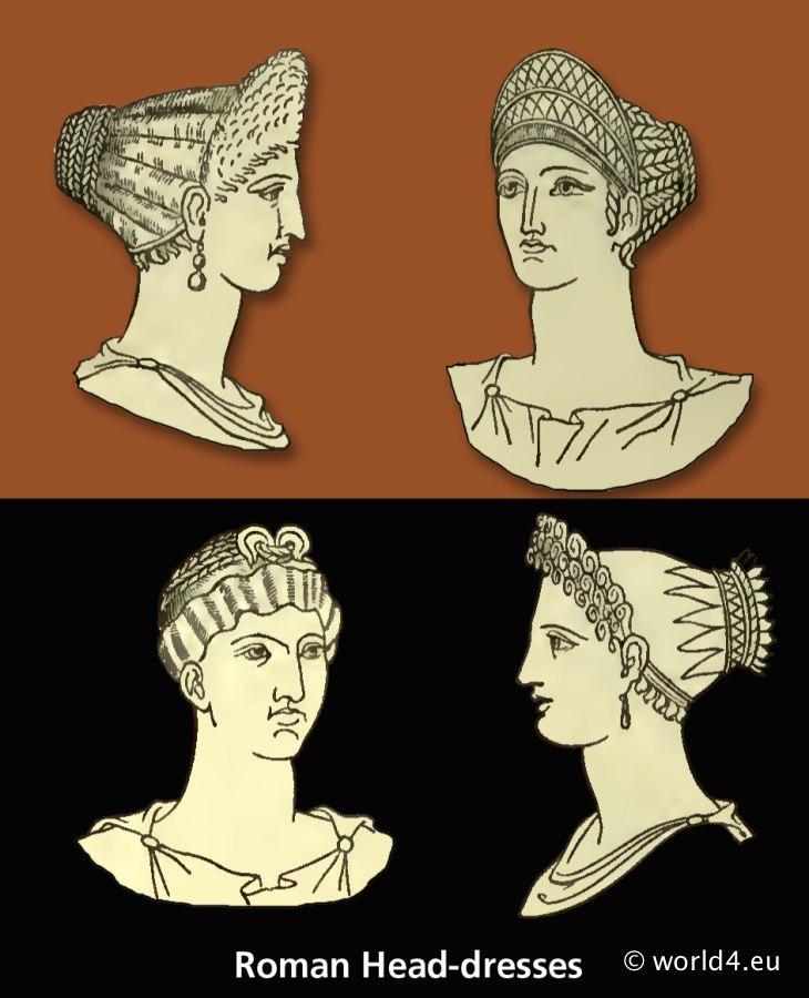roman fashion history, ancient, roma, mitre, infula, petasus, pileus, head-dresses