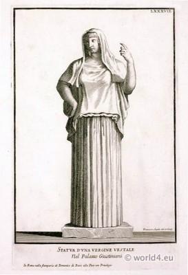 roman fashion history, Vestal, sculpture, Vergine, ancient,rom, costume, tunica