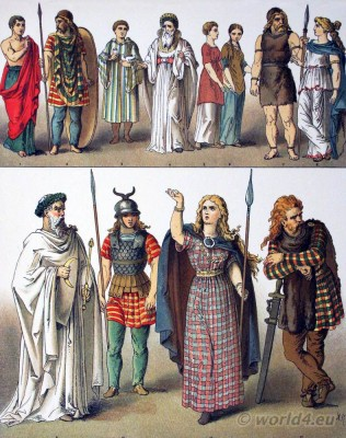 German costumes, Ancient, British, Gallic, Teutons, costumes. Druid, Priestly, Gaul, Boadicea, barde