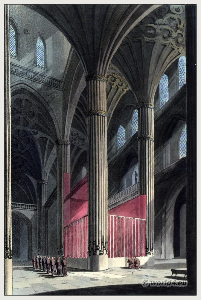 Architecture Salamance Spain. Catedral Vieja de Santa María Romanesque, Gothic style. Steel engraving. The Peninsula War.
