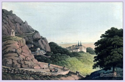 Sintra,Portugal,Topography,Landscape,UNESCO, World Heritage,Old, Moorish, city,Iberian, Peninsula, engraving