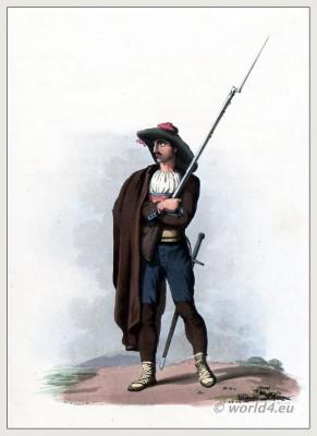 Traditional Spanish costumes. Salamanca Castile and León peasants dress and clothing. The Peninsula War. Ciudad Rodrigo Militia.