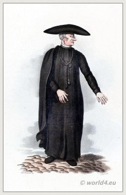 Traditional Spanish ecclesiastics costume. Salamanca, Castile and León clothing. Enlightened scholar, The Peninsula War.