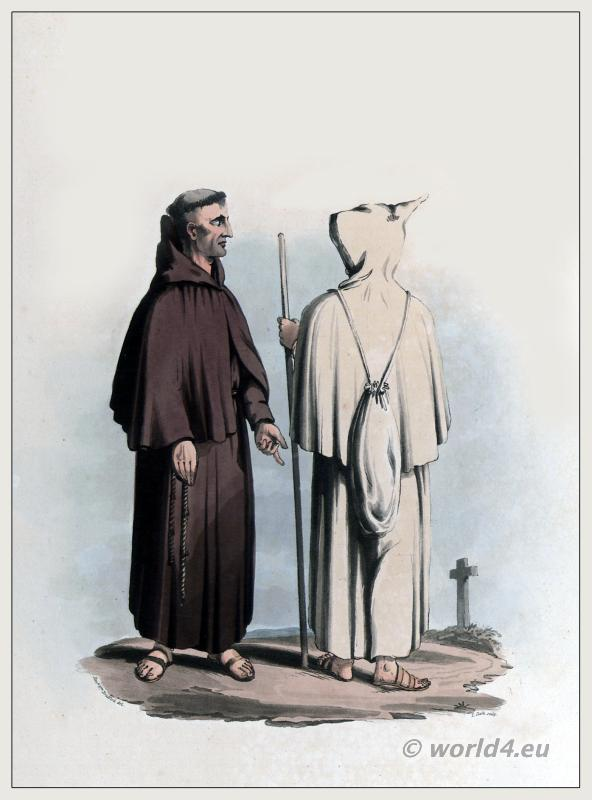 Franciscans monks costume habit and clothing. Peninsula war.
