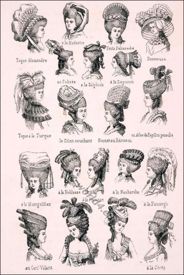 Rococo hairstyles. Louis XVI. Marie Antoinette