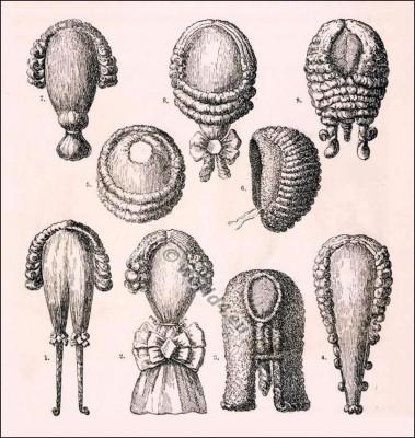 French baroque wigs. Rococo wigs. 18th century fashion. Allonge wigs