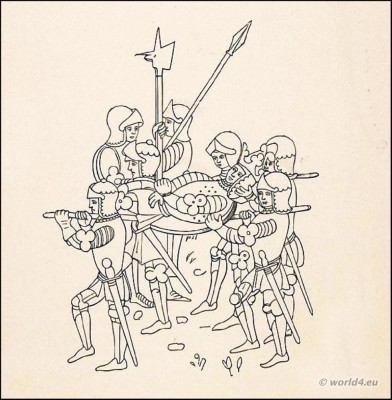Knights in armour and weapons, swords. Death King. Middle ages 14th century costumes. Arthur's Knights