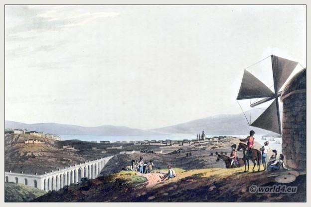 Historical Portugese landscape. Environs of Lisbon. Aqueduct of Alcantara, Qui'llus. Peninsula war.