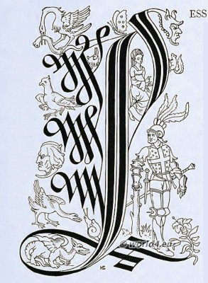 Initial letter, Medieval, Illustration, Typography,
