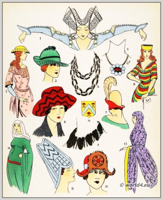 Middle Ages hats fashion. 12th to 15th century fashion history.