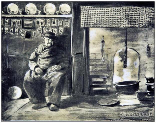 Dutch house furnishings. Old man in Dutch costume