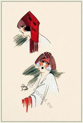 Cote d`Azur, Chapeaux, Art-deco, flapper, fashion, Très Parisien