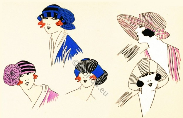 Art Deco Beret, Bonnets. French Hats Fashion, Spring 1922. Chapeaux du Très Parisien.