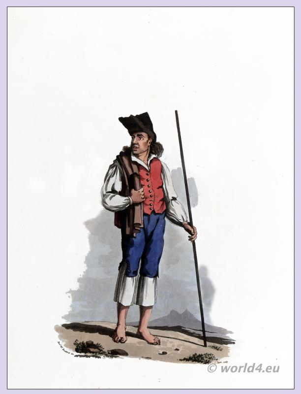 PEASANT OF TORRES VEDRAS. Traditional Portuguese national costumes. Peninsula war.
