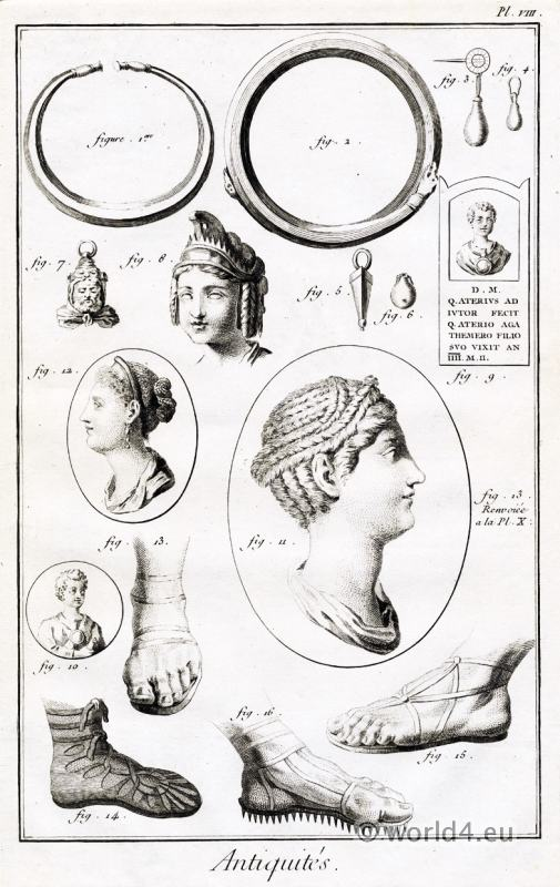 Roman artifacts, Antiquities, jewelry, hairstyle, footwear, ancient