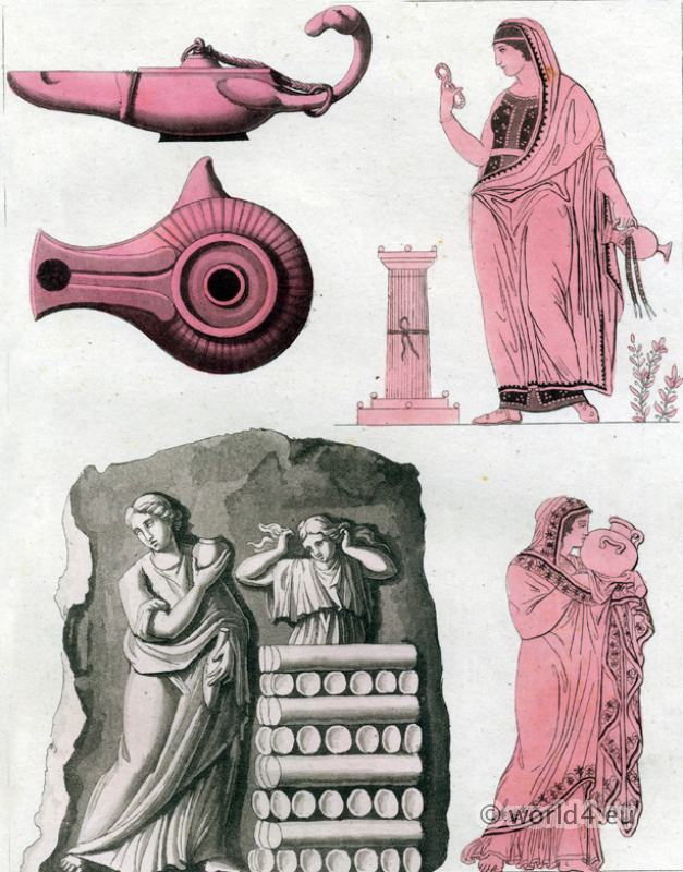 Antique Greco Roman Culture. Ancient Greece costumes. Objects and Oil lamps