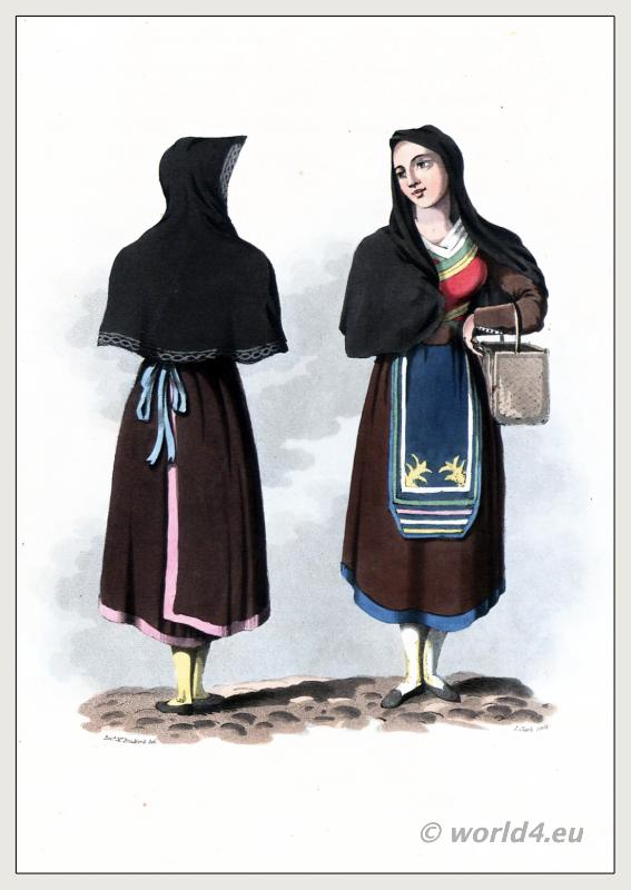Salamanca Castile and León. Traditional Spanish costumes. Salamanca women`s dress and clothing. The Peninsula War.