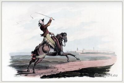 Spanish saddle. Traditional Spanish courier costume.