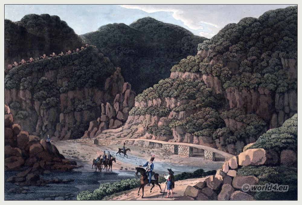Historical Portugese landscape. Nisa and Villa Velha. Sierra Morena, and Sierra Constantina. River Tajo, Tagus. Peninsula war.